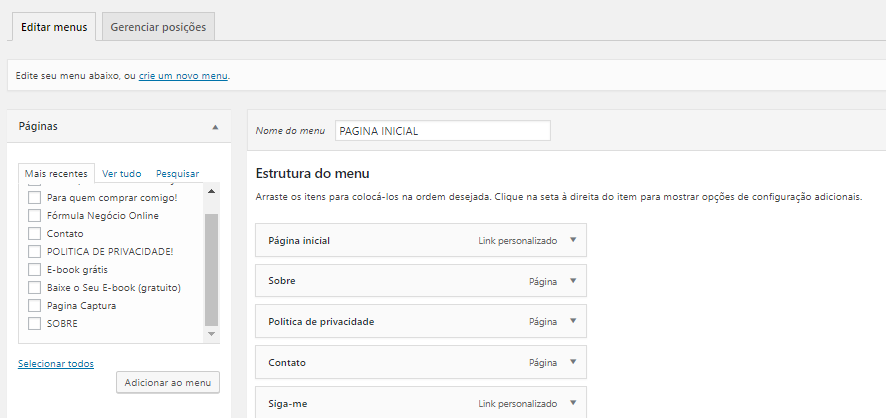 ConversioWP configurações do menu